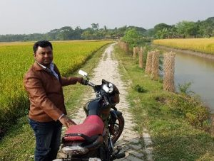 Road created with excavation material from drainage canal in coastal Bangladesh
