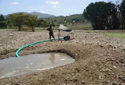 Farmer extracting water with a diesel pump