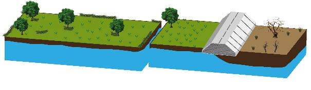 Figure 3.2. Before (left) and after (right): road in fill blocking subsurface streams, causing wetting upflow and drying downflow