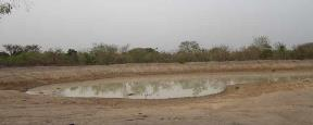 Borrow pit collecting seepage water from high groundwater table in floodplain (Lakes Region, South Sudan)