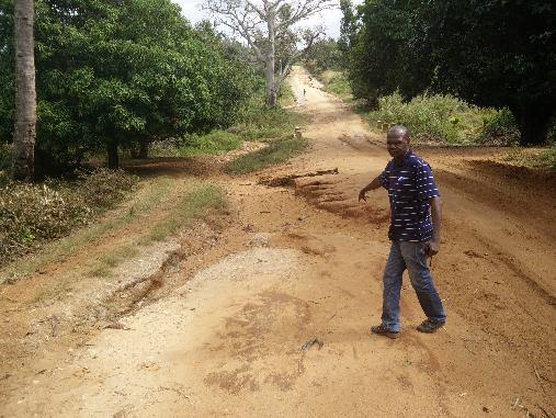Mozambique: roads constructed with highly erodible red sandwashed away in each major runoff event
