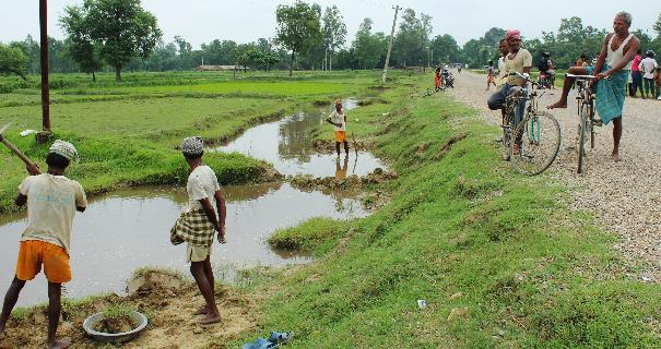 Practice of using roadside borrow pits and drains as drainage buffer, also practiced in the Terai Plains of Nepal