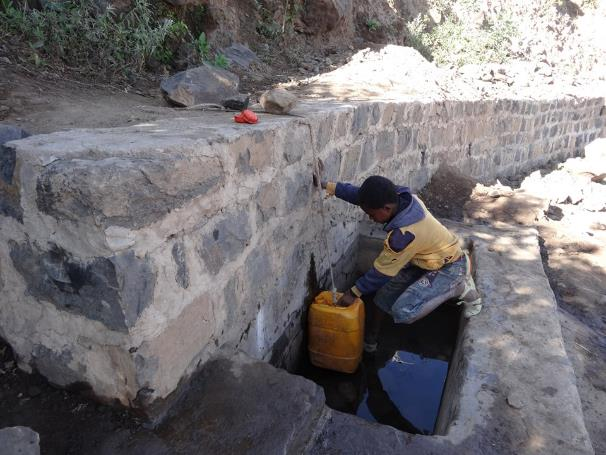 Roadside spring opened after road construction in Tigray, Mulegat (Ethiopia)