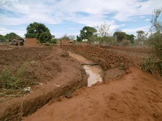 Farm trenches in Kenya: road drainage water serving the root zone